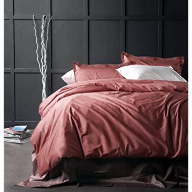 Solid Color Egyptian Cotton Duvet Cover Luxury Bedding Set High Thread Count Long Staple Sateen Weave Silky Soft Breathable Pima Quality Bed Linen (King, Dusty Cedar)