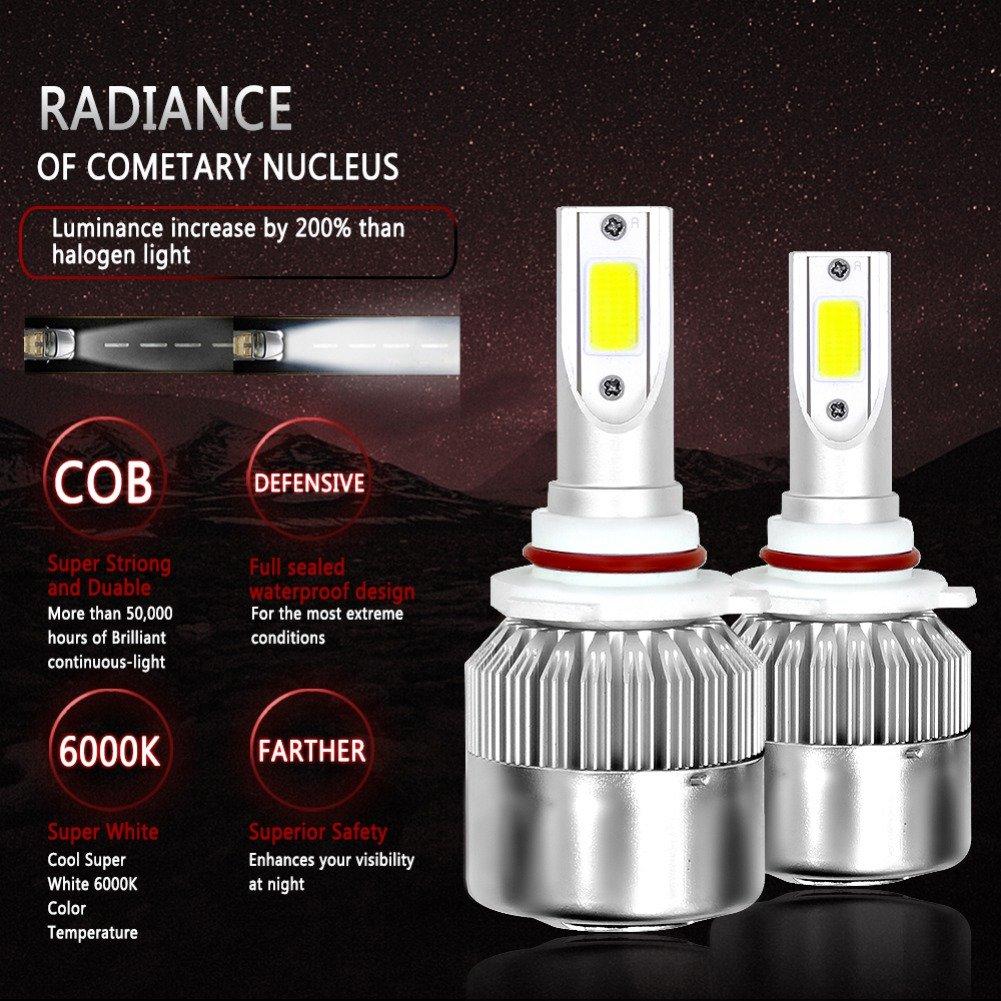 ONEWELL H7 Bombillas LED para Faros Kit de Conversión Todo En Uno, 7600LM 72W 6000K Blanco Frío, IP68 a Prueba de Agua LED Faro de La Linterna - 3 Años de ...