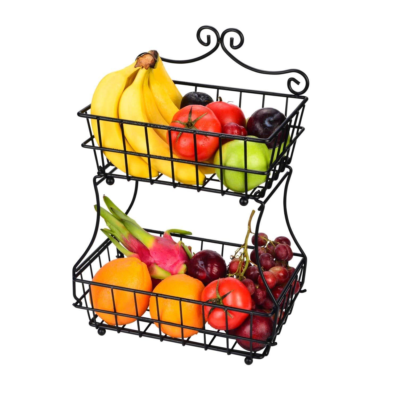 Linkfu 2 Tier Fruit/Bread Basket Removable Screwless Metal Basket Rack for Kitchen Counter -Black by Linkfu (Image #1)