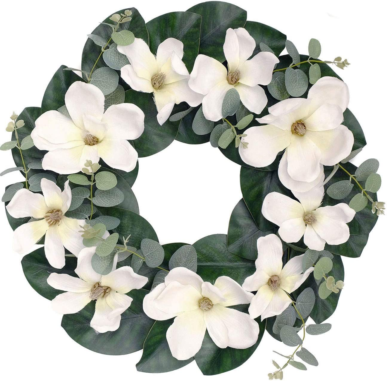 Bibelot 20 Inch White Magnolia Wreath Eucalyptus Leaves Magnolia Leaves Wreath for Front Door Indoor or Outdoor Wall Wedding Party Home Decor Office Housewarming Gift