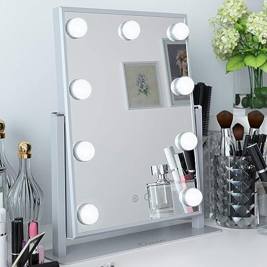 Ovonni Hollywood Espejo Maquillaje con Luz, Espejo de Mesa con 9 ...