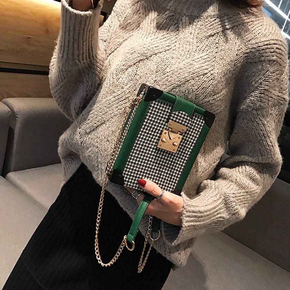 XLMLJYX Mini Flap Bag Personality Women Plaid Box Shoulder Bag Casual Temperament Chain Crossbody Bag