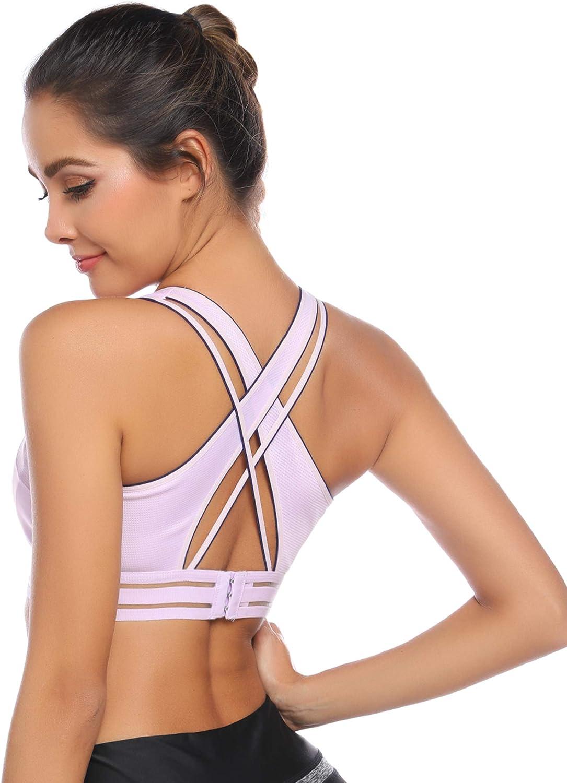 Hawiton Sujetador Deportivo para Mujer con Rellen, Sexy Alto Impacto Sujetador de Yoga sin Espalda con Tiras Sin Costuras Belleza de Vuelta Bra