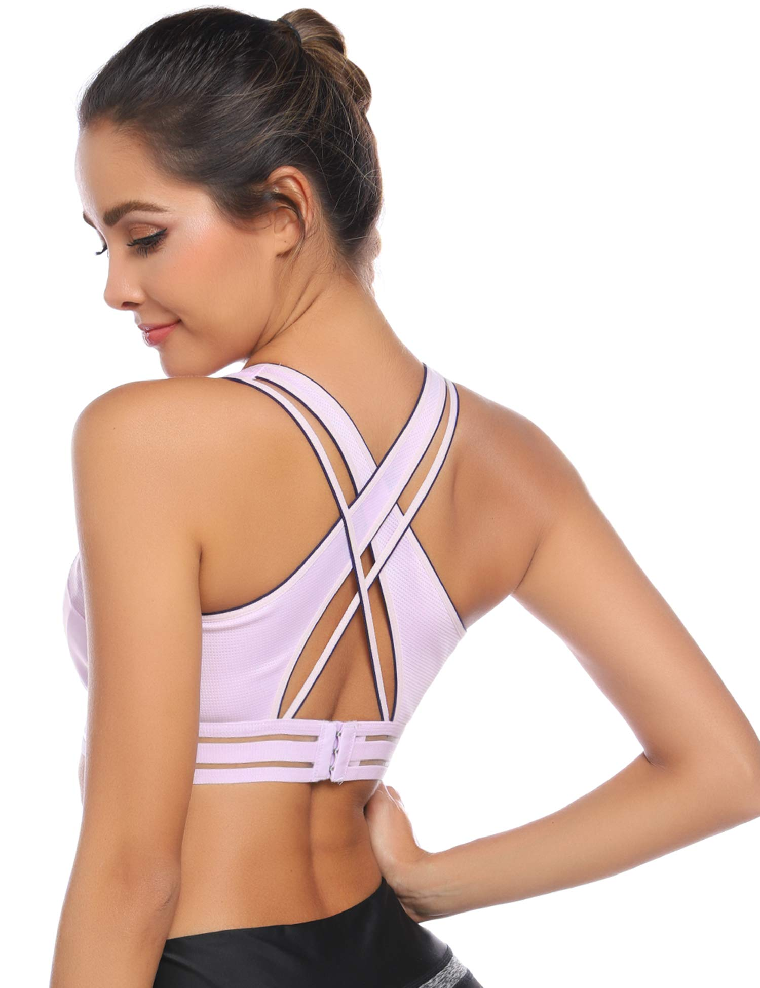 Back Cross Strappy Sports Bra Women Hollow Out Seamless Nylon Gym Removable Pads