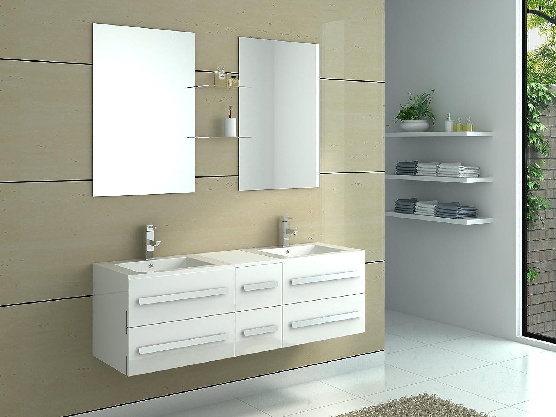 Doppel Schalen Interougehome-Badmöbel 6 Schubladen-Farbe: Hochglanz Weiß-Spiegel-Unterschrank