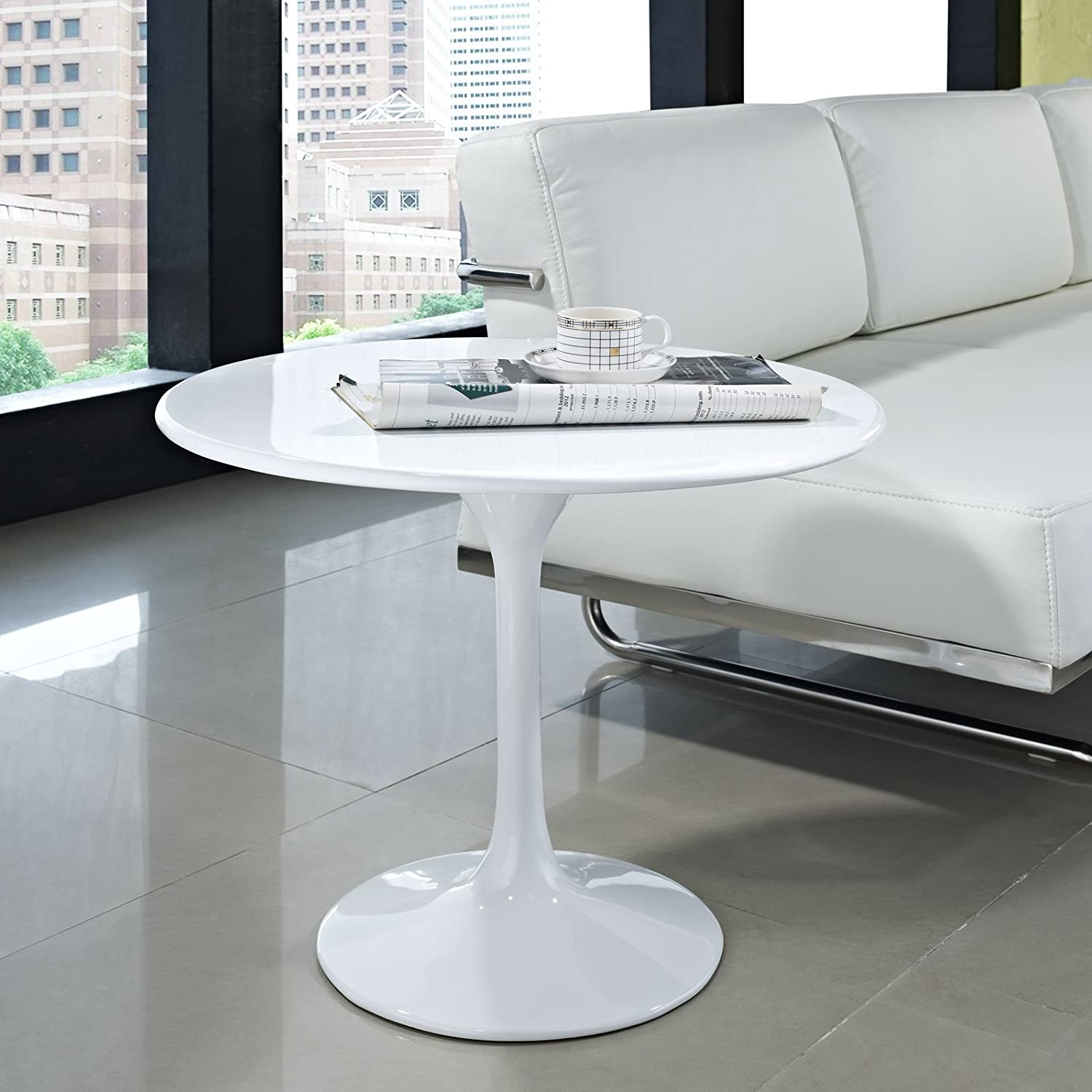 "Amazon Modway 24"" Eero Saarinen Tulip Side Table in White"