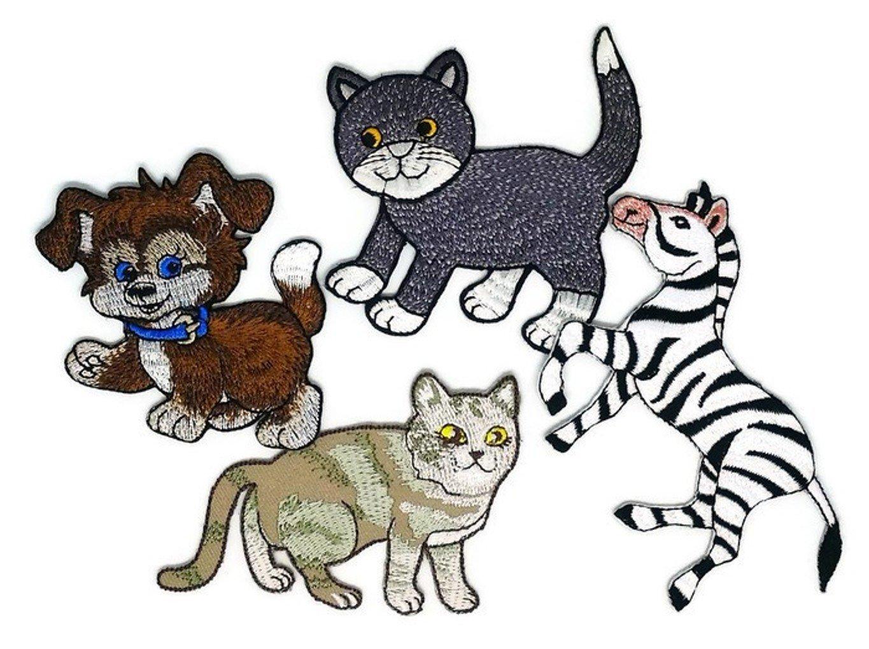 Set 4 Mezcla Animal Perro Gato Cebra D.I.Y. Parche bordado para coser o planchar con dibujos animados, hecho a mano, para bebé, niña, mujer, ...