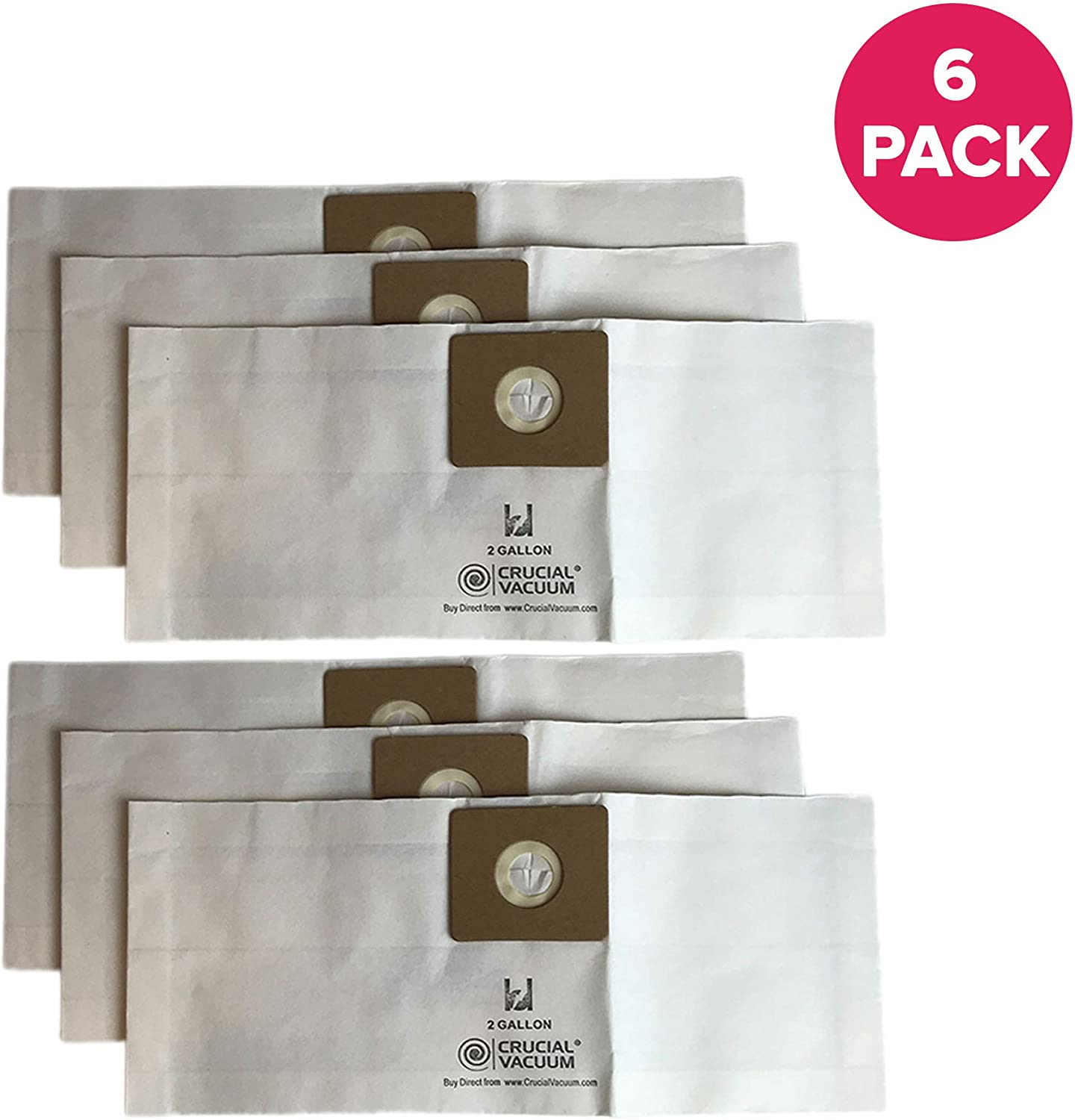 Long-Lasting 2-Gallon for Wet Bulk Packs Bag Measures 7 X 6.6 X 0.9 Inches 3 Pack Compatible with Shop Vac Type B Models Dry Vacs Crucial Vacuum Replacement Vac Bags Part # 9066800