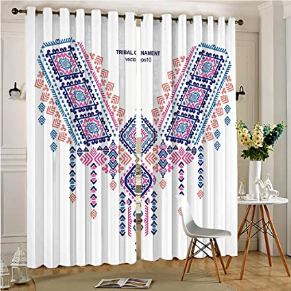 Alichenzhi Sheer Curtains For Living Room Design Style Bohemian Festive  Print And Blue For Bedroom Windows