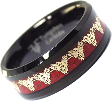 Black Tungsten Carbide Phoenix Ring 8mm Wedding Band Anniversary Ring for Men and Women Size 8