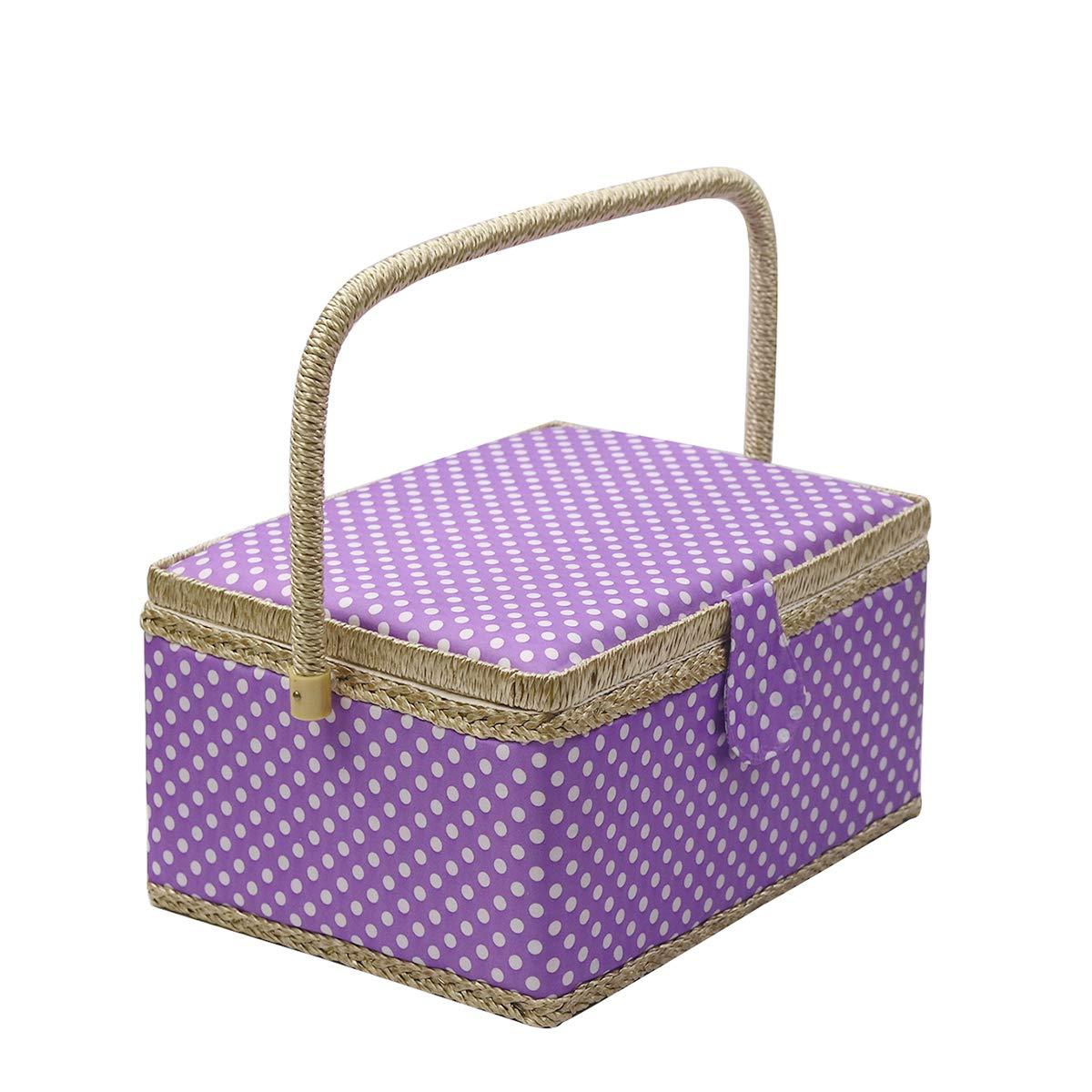 裁縫箱、ラージ、おうち、旅行用のD&D縫製バスケット - 紫色の水玉   B07D5XPSJ8