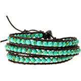 ZLYC Women Hand Woven Turquoise Beaded Leather Cord Three Wraps Bracelet Jewelry