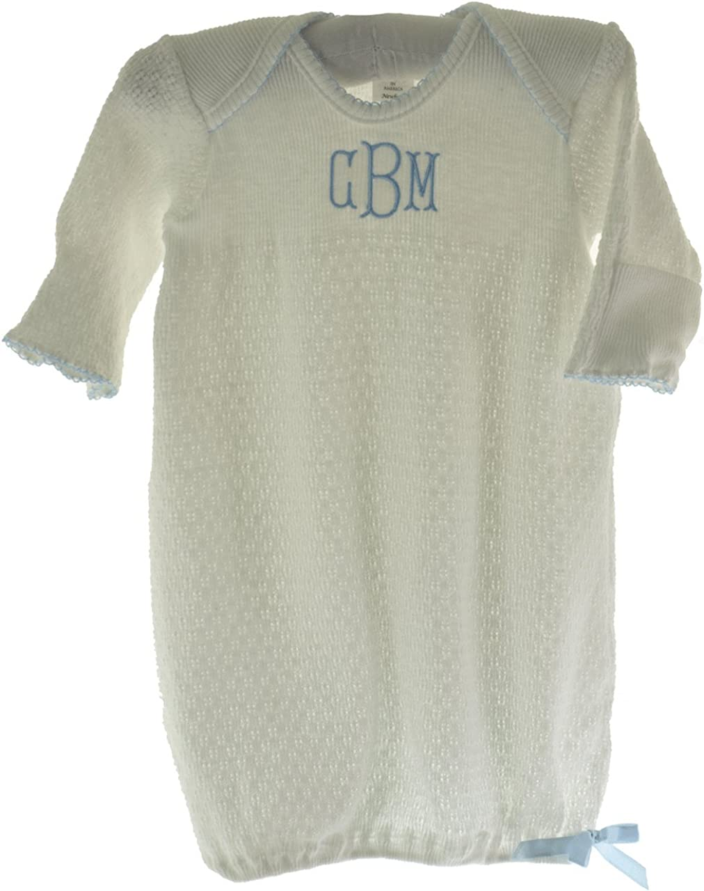 Paty Inc Infant Baby Boys Take Home Gown White with Blue Trim