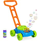 Best Choice Products Kids Pretend Play Pushing Electronic Bubble Mower Toy for Outdoor Activity - Multicolor