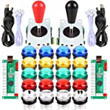 EG STARTS 2 Player Arcade Games DIY Kit Parts 2 Ellipse Oval Joystick Handles + 20 LED lit Arcade Buttons (Mixed Color Kit)