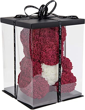 Ours Rose 38cm I Fait Main I Idée Cadeau I Pour La Saint Valentin Fiançailles Anniversaires Remise Des Diplômes Mariage Baptême Noël Journée De
