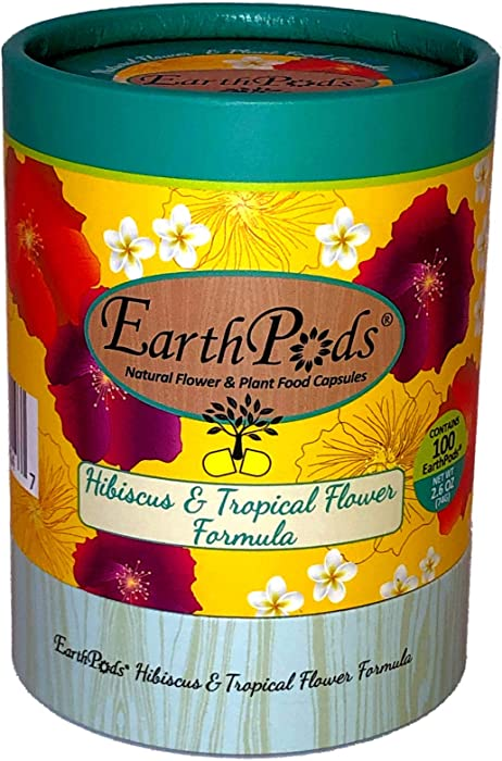 EarthPods Premium Hibiscus & Tropical Flower Plant Food – Easy Organic Fertilizer Spikes – 100 Capsules – Boosts Blooms, Color, Root + Foliar Growth (Perfect for Hibiscus, Bougainvillea & Plumeria)