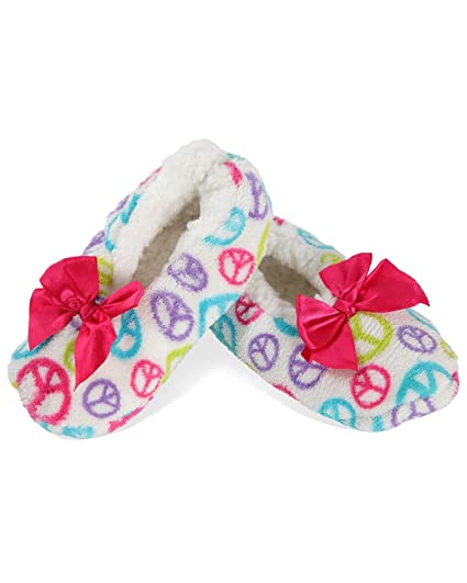 4e9b3324c Amazon.com: MeMoi Pecae Sign Slippers | Girls Slippers and Slippers for  Kids: Clothing