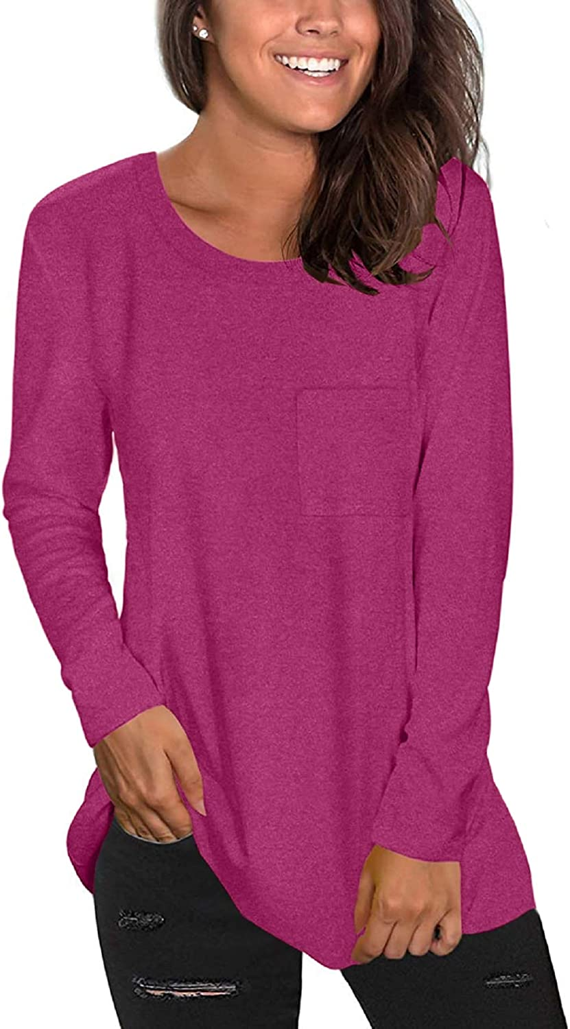 KISSMODA Womens Casual Long Sleeve Crew Neck Solid Color Daily T-Shirt