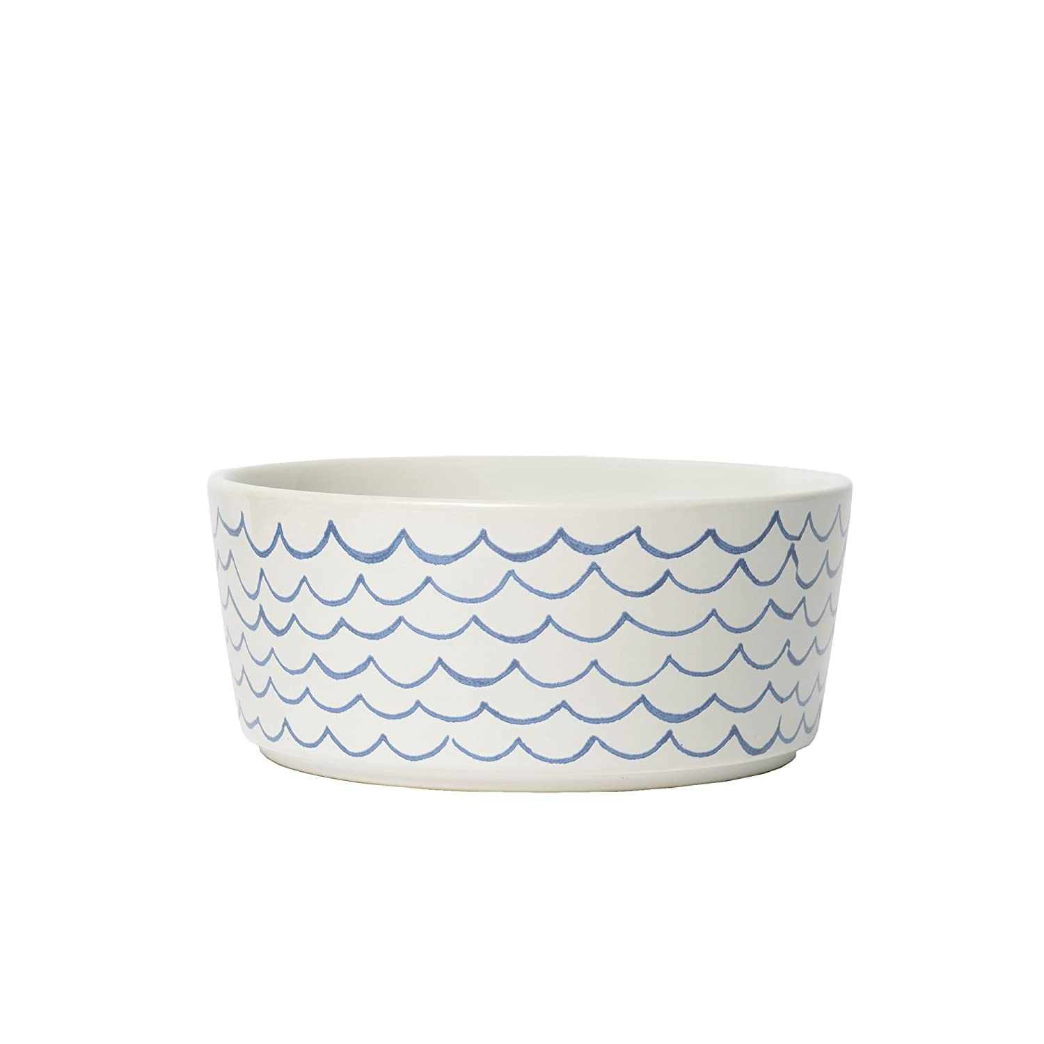 White Small White Small Waggo Sketched Wave Dog Bowl (Small)