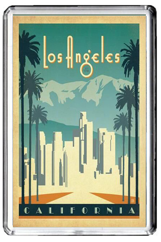 CFL B632 LOS ANGELES FRIDGE MAGNET USA VINTAGE TRAVEL PHOTO MAGNETICA CALAMITA FRIGO
