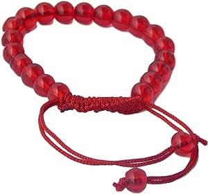 Unisex Bead Silk Threaded Bracelet cum Wrist Band, Red