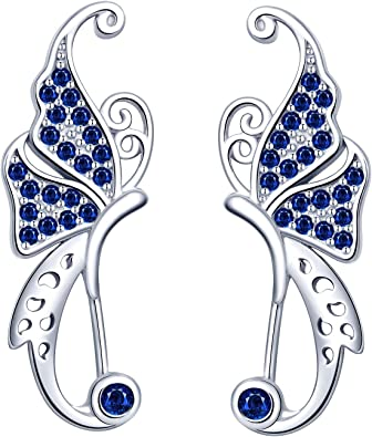 Yumilok Pendientes de Mariposa para Mujer Niña, en Plata 925, Clip de Oreja de Circón Pendientes de Escalada, Regalo de Cumpleaños de Navidad