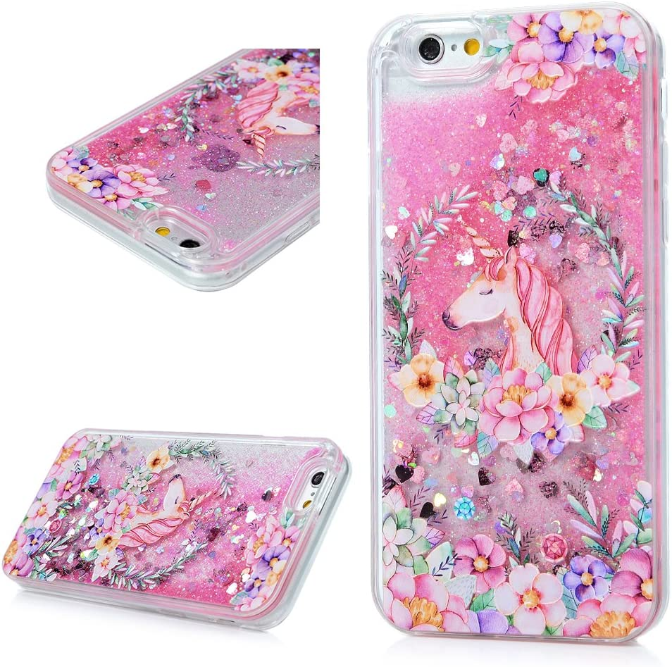 iPhone 6 case, iPhone 6S Case (4.7), Mavis's Diary Bling Glitter Sparkle Flowing Liquid Quicksand Moving Sequins Protective Hard PC Back Cover with Soft TPU Rubber Frame - Painted Unicorn Flower
