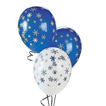 "White Snowflake 12/"" Confetti Latex Balloons Christmas Xmas Party Decoration x 5"