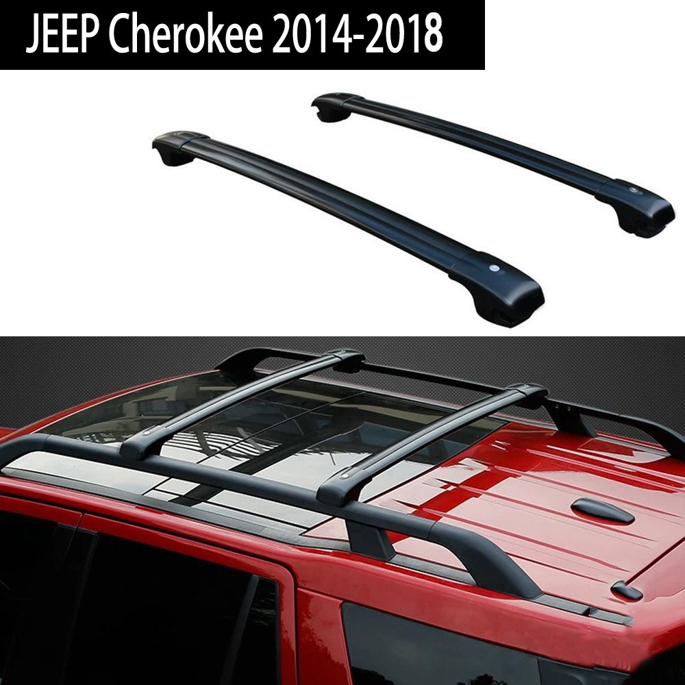 Fit for Jeep Cherokee 2014-2017 Roof Racks Crossbar Baggage Roof Rack Rail Cross Bar - Black KPGDG