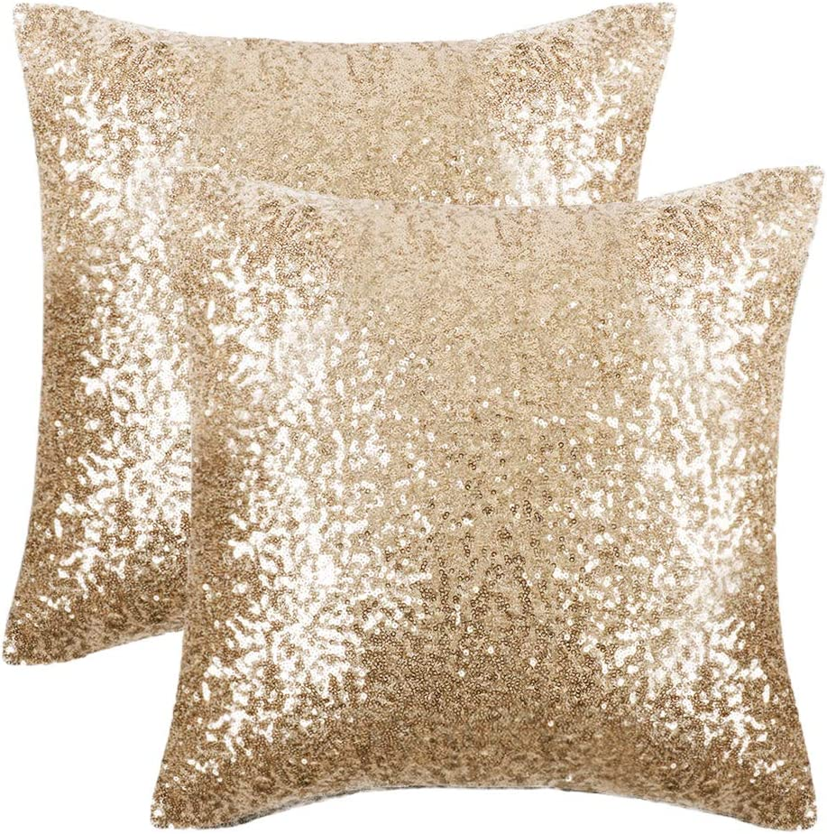 PONY DANCE Pillow Covers Decor - Shiny Sparkling Sequin Christmas Decorative Cushion Covers Pillowcases with Bling Fabric for Party with Hidden Zipper, 18 x 18 in (45 cm), 2 PCs, Light Gold