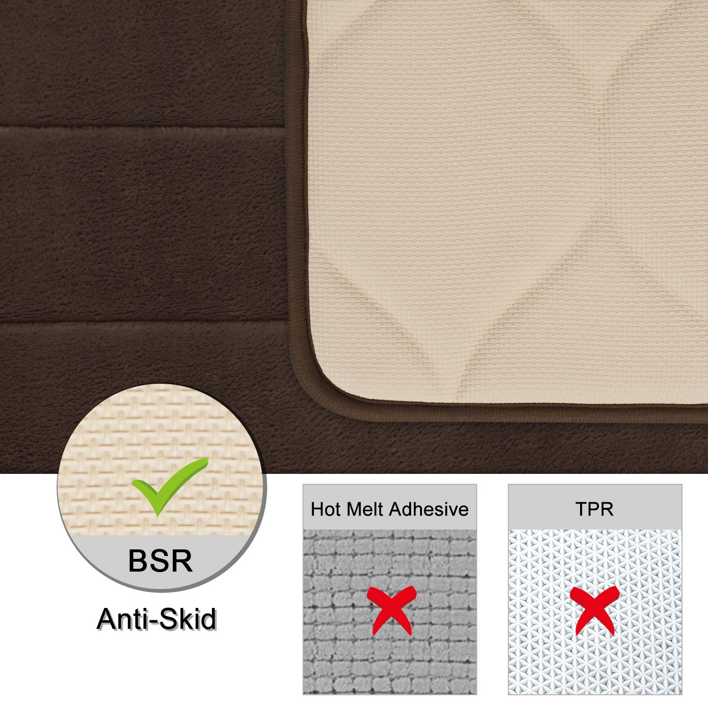 LEEVAN Memory Foam Kitchen Comfort Mat Super Soft Rug Microfiber Flannel Area Runner Rugs Non-Slip Backing Washable Bathroom Rug Set of 2 Pcs-19x23+19x47 Black Kitchen Rug Set