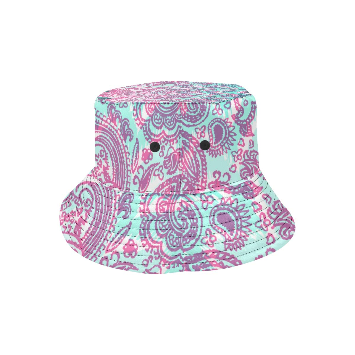 Indian Paisly Popular Design Summer Unisex Fishing Sun Top Bucket Hats for Kid Teens Women and Men with Packable Fisherman Cap for Outdoor Baseball Sport Picnic