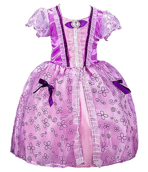 YOSICIL Niñas Vestido de Princesa Sofia niña Disfraz Deluxe ...
