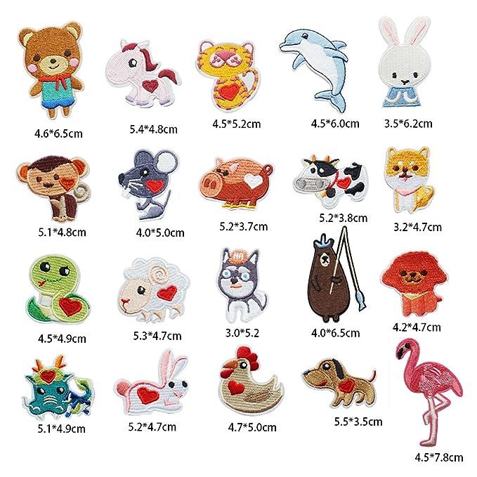 20 parches de animales bordados para perro/llamas/conejos para ropa, planchar o coser en parches: Amazon.es: Hogar
