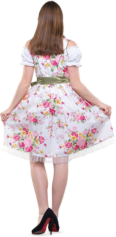 Dirndlspatz Dirndl Damen 3 teilig Anja in Gr/ün Rosa Pink Gebl/ümt Pink Gr 34 54 Festliche Midi Blumen Trachtenkleid 3 TLG Oktoberfest