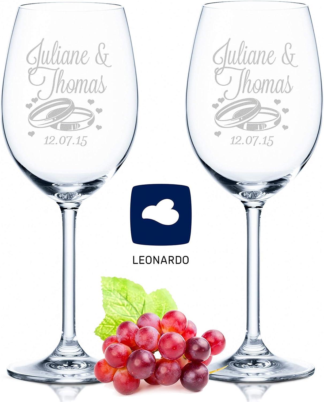 Copas de vino Leonardo con grabado de nombre y fecha en – diseño de boda – como regalo para boda, compromiso o aniversario – Personalizadas con grabado personalizado – el regalo de
