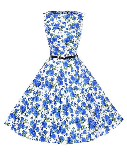 Mujer Vintage Hepburn Vestidos De Impresión De Flores Cóctel Fiesta Noche Cóctel Pin Up Swing Vestido De Cuello Redondo-Azul: Amazon.es: Ropa y accesorios