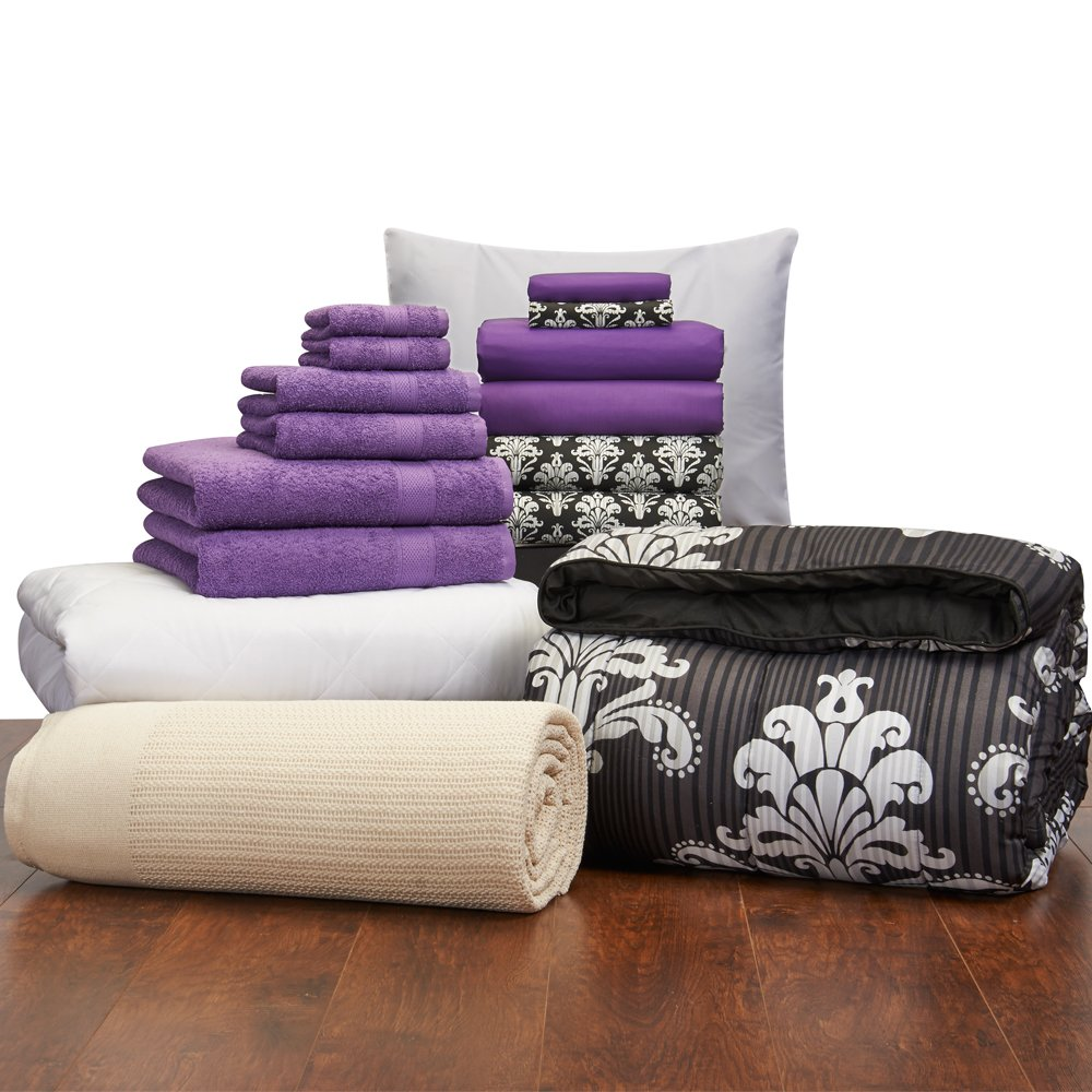 16 Piece Starter Pak Victoria Damask and Grape Twin XL College Dorm Bedding and Bath Set