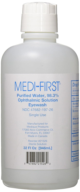 Medi-First 21526 Medi Wash Eye Saline Bottle, 32-Ounce Medique Products