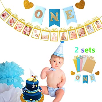 Set Of 2 JeVenis Glittering Baby First Birthday Decorations Bannerquot O N Equot