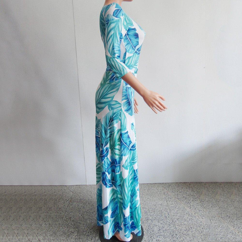 Elegant Dresses Womens Stylish Chiffon V-Neck Printed Floral Maxi Dress with Waisted Belt Plus Size S-3XL by Chaofanjiancai