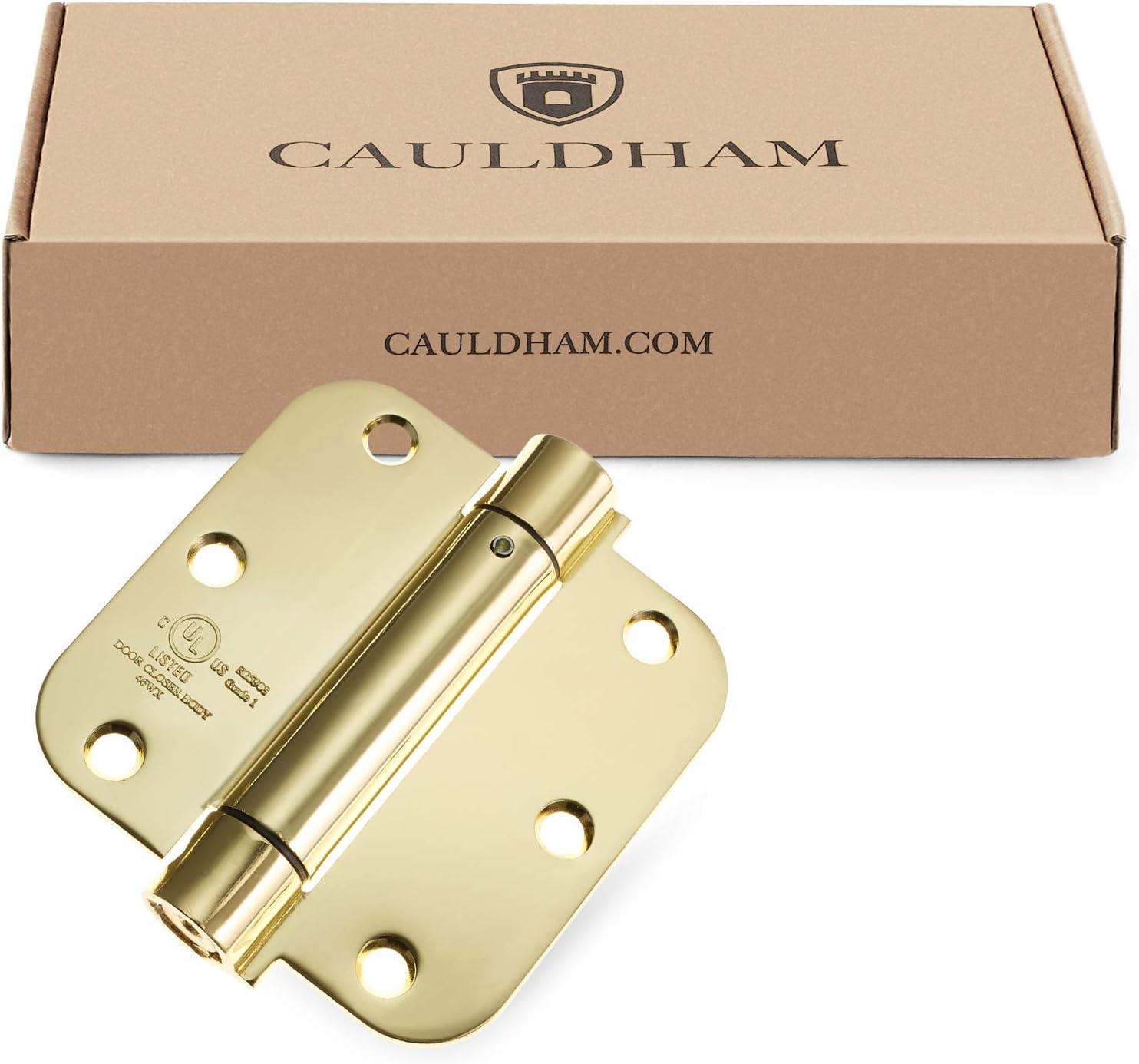 UL Listed Cauldham Heavy-Duty 3-1//2 Self-Closing Spring Door Hinge with 5//8 Radius Corners Brass 2 Pack