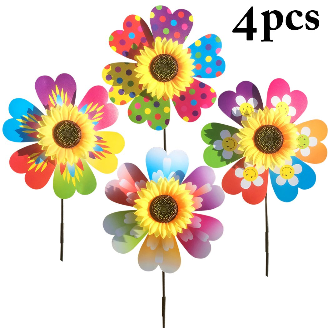 Fansport 4PCS Pinwheel Toy Wind Spinner Decor Colorful Sunflower Shape Pinwheel for Party Garden Decor