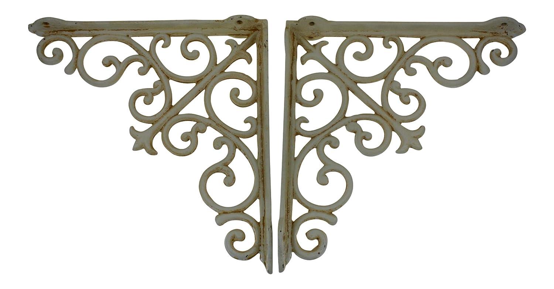 """10"""" wrought Iron Shelf Brackets, Ivory, Set of 2, French Antique Design """"Arabesque"""""""