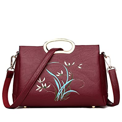Image Unavailable. Image not available for. Color  GWQGZ New Ladies Handbag  Fashion Embroidered Women S Single Shoulder Bag Simple ... fde04fd9f630b