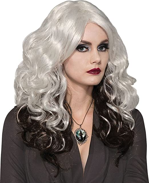 Mujer Disfraz de Halloween Fiesta Bruja Disfraz PLATA Cast Peluca Accesorio de disfraz