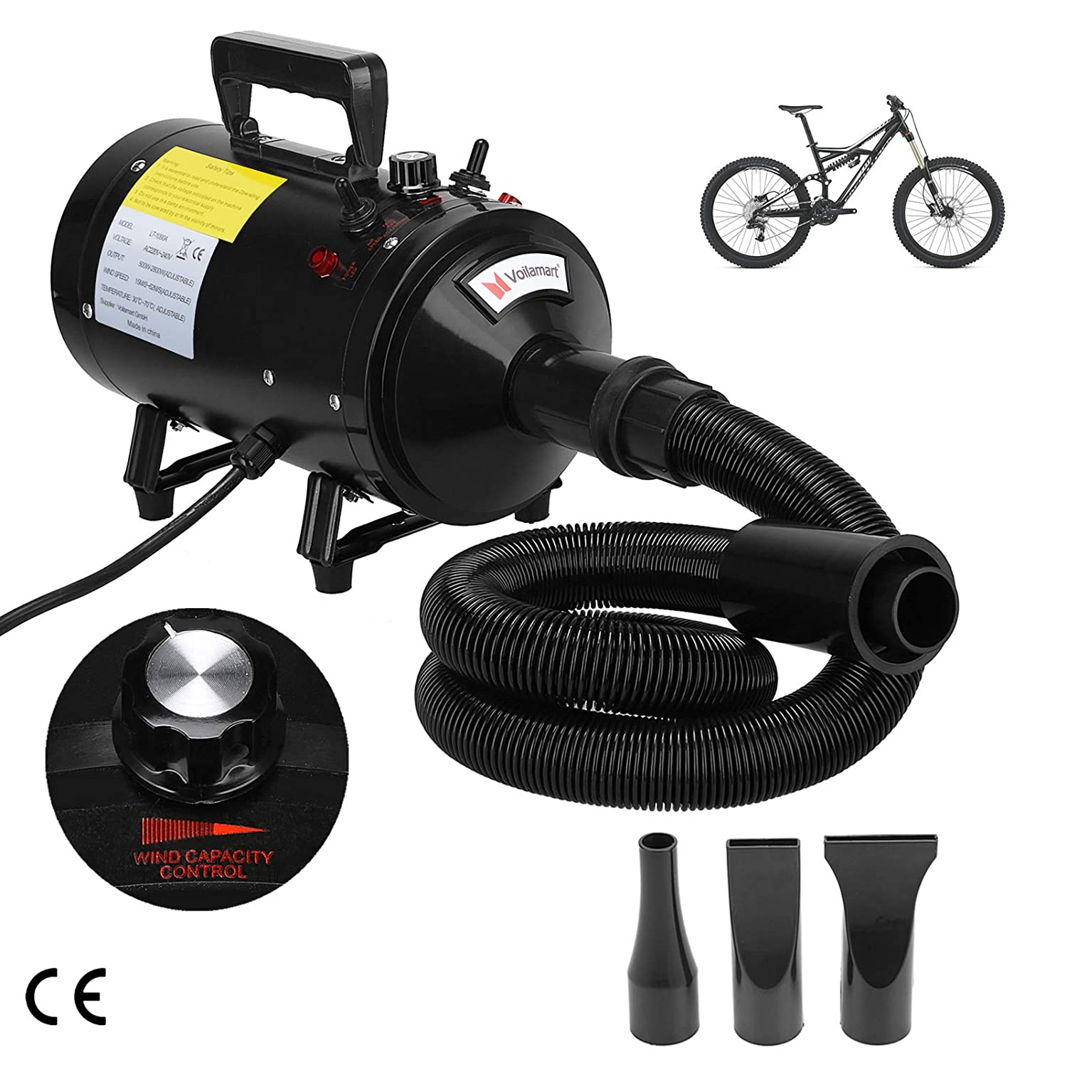 Pet Dryer 2800W Bike Dryer Turbo Blaster Variable Temperature and Speed Low Noise Portable Car Motorcycle Metro Air Dryer Voilamart Motorbike Dryer Blower 3 Nozzles Black