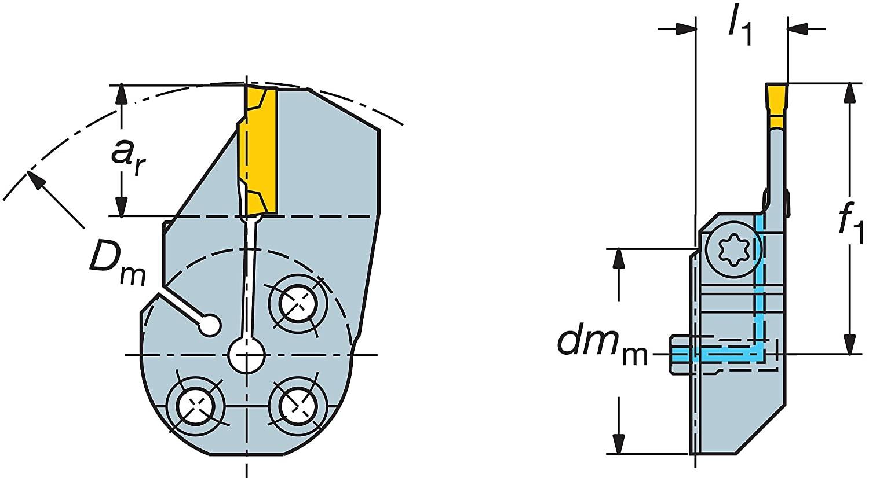 0.47 Maximum Depth of Cut Sandvik Coromant 570-32L123D12B Steel CoroCut 41641 Head for Grooving Holder
