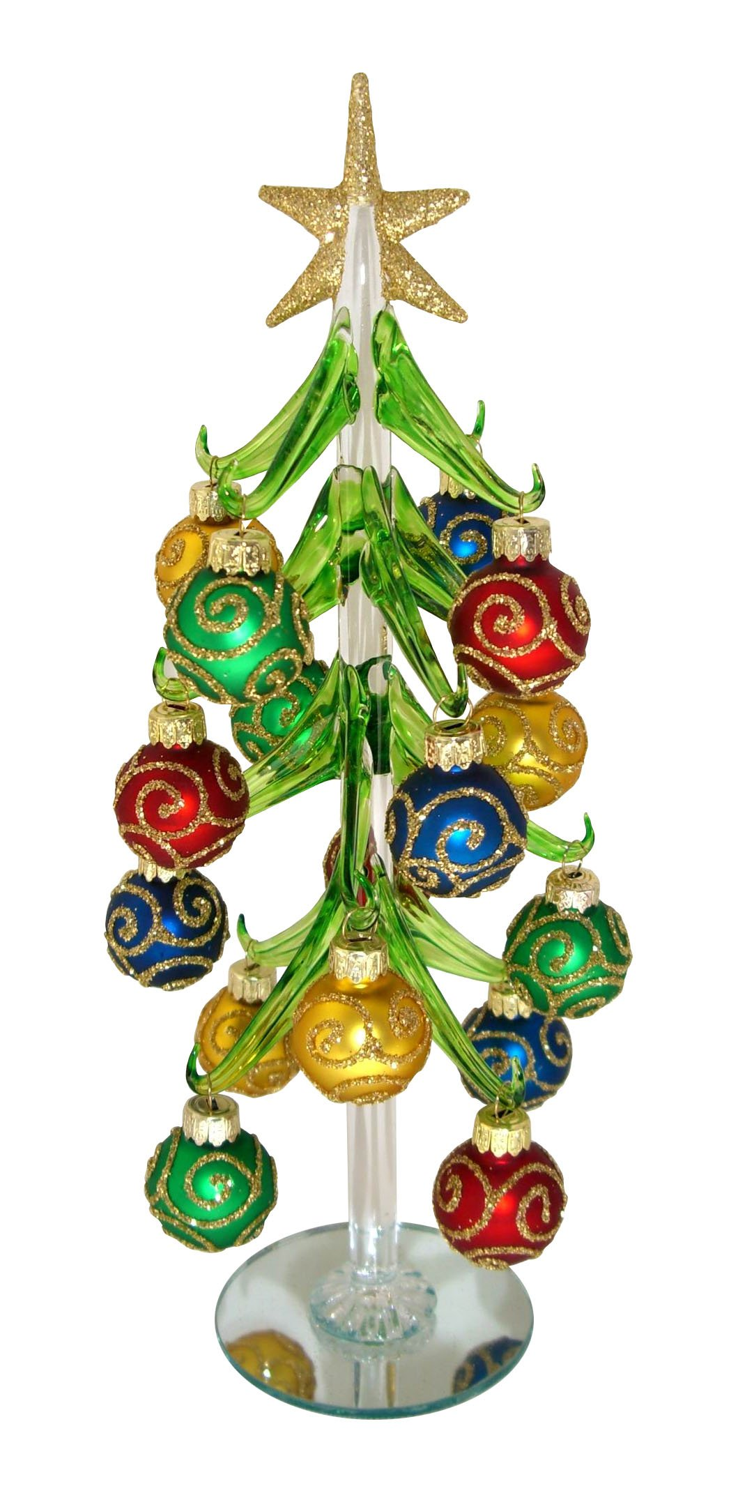 Red Carpet Studios Miniature Glass Christmas Tree with 16 Gold Glitter Ornaments